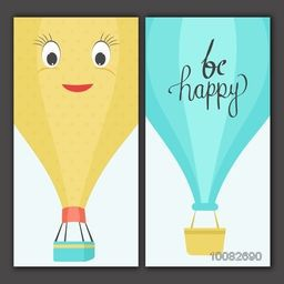 Creative doodle illustration of funny hot air balloon with stylish text Be Happy, Can be used as greeting card or invitation card design.