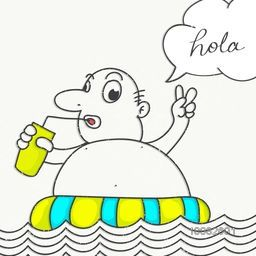 Creative doodle illustration of a fat man enjoying at beach and stylish speech bubble on white background.