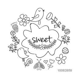 Creative hand drawn doodle style frame decorated with cute bird, beautiful floral design and butterfly on white background.