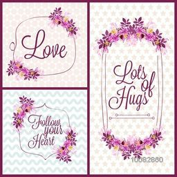 Beautiful flowers decoated, Love Cards set with creative typographic collection for Valentine's Day, Wedding, Birthday Party etc. celebration.