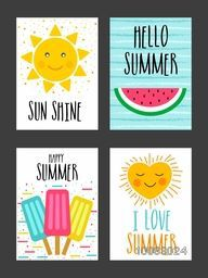 Set of four different hand drawn Summer Cards with creative doodle elements as sun, watermelon, ice-cream and heart.