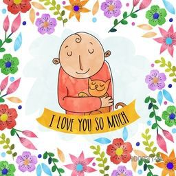 Creative doodle style illustration of a boy holding his pet cat on watercolor flowers decorated background.