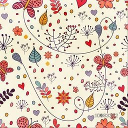 Beautiful hand drawn floral background, Creative pattern with flowers, leaves and butterflies in doodle style.
