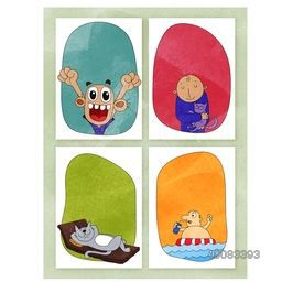 Creative hand-drawn doodle style illustration of four funny characters with space for text, Set of colorful greeting card or invitation card design.