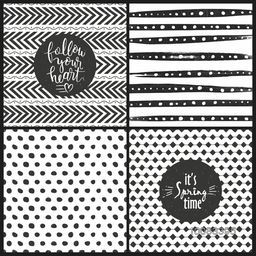 Set of four different hand drawn seamless doodle patterns or textures.Creative background for greeting card or invitation card design.