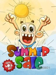 Happy Summer Sale with Flat 40% Off,  Creative Sale Template, Banner or Flyer design with hand drawn doodle style illustration of a boy on sunny background.