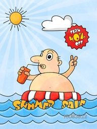 Summer Sale with Flat 40% Off, Template, Banner or flyer design with Hand drawn doodle style illustration of a fat man enjoying at beach.