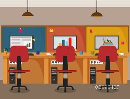 Flat office interior, workspace background.