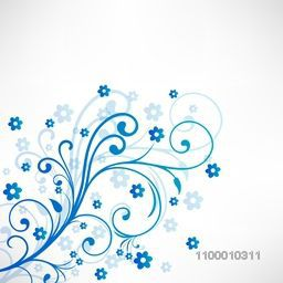 Beautiful blue floral design decorated background. Vector illustration.
