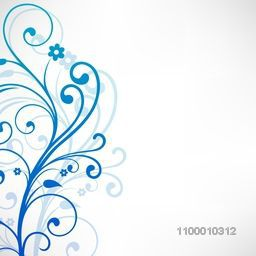 Beautiful blue floral design decorated grey background. Vector illustration.
