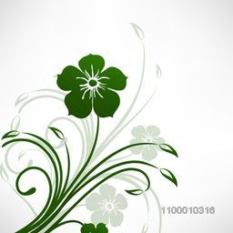 Beautiful green floral design decorated glossy grey background. Vector illustration.