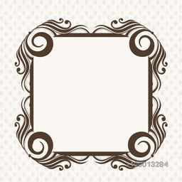 Beautiful decorated photo frame on abstract background.