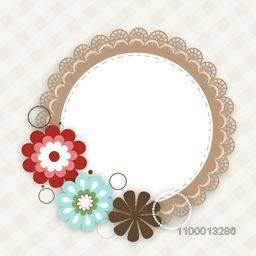 Colorful floral decorated photo frame on abstract background.