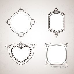 Set of floral frames in different shapes.
