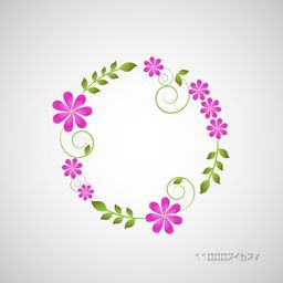 Beautiful floral flowers decorated frame, Can be used as greeting or invitation card design.