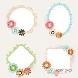 Set of photo frames on abstract background.