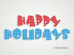 Stylish red and blue colour text design of Happy Holiday on stylish background.