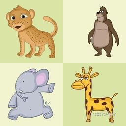 Funny cartoon characters of wild animals like leopard, bear, elephant and giraffe.