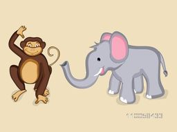 Cute cartoon characters of smiling monkey and standing elephant.