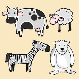 Funny cartoon characters set including cow, sheep, zebra and bear.