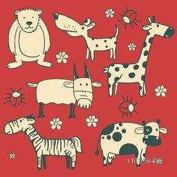 Set of funny cartoon characters of animals and insects on red background.