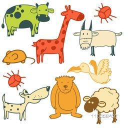 Set of different animals, bird and insect cartoon characters.