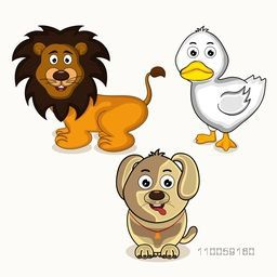 Cute cartoon character of smiling lion with dog and white duck.