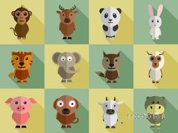 Set of different wild and domestic animals cartoon characters.