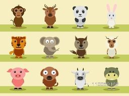 Cartoon characters of wild and pet animals like monkey, reindeer, panda, rabbit, tiger, elephant etc.