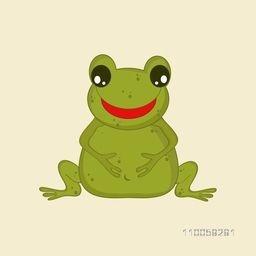 Funny character of a smiling frog in green color holding his stomach on beige background.