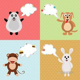 Set of four smiling animal character with speech bubbles on stylish colorful background.