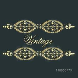 Stylish beautiful vintage border design on green background.
