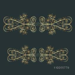 Creative shiny beautiful floral border design on green background.