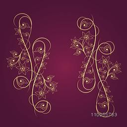 Shiny beautiful creative floral ornament on purple background.