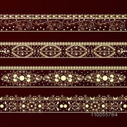 Beautiful floral border design on brown background.