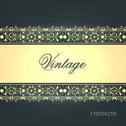 Stylish vintage invitation or greeting card with creative border design.