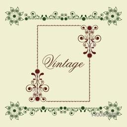 Stylish floral decorative frame with border design and space for your text on beige background.
