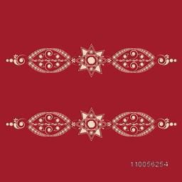 Stylish creative border design on red background.