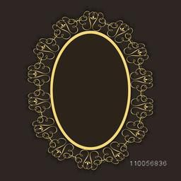 Floral design decorated blank frame in oval shape.