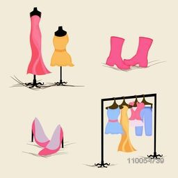 Stylish fashionable women's dresses rack with women sandals, boot and dresses on dummy over beige background.