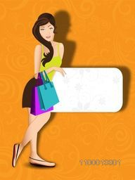 Fashionable, shopping girl with bags on yellow background with space for your message