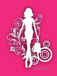 White silhouette of fashionable, shopping girl with bags on pink floral background.