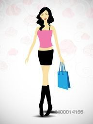 Attractive fashionable girl with shopping bag .