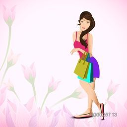 Illustration of young fashionable girls on abstract background.