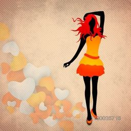 Young modern girl on hearts decorated background.