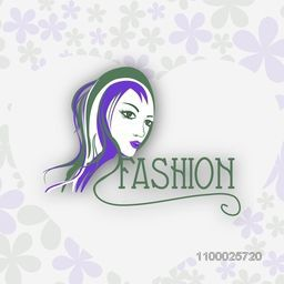 Illustration of fashionable girl on floral decorated background.