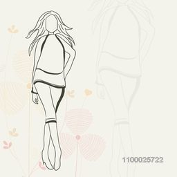 Sketch of a fashionable young girl on floral decorated background.