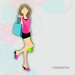 Stylish young girl with shopping bags on floral decorated background.