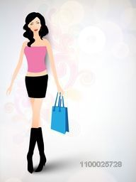Stylish young girl with shopping bag on floral decorated colorful background.