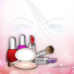 Illustration of a beautiful girl face with cosmetics.